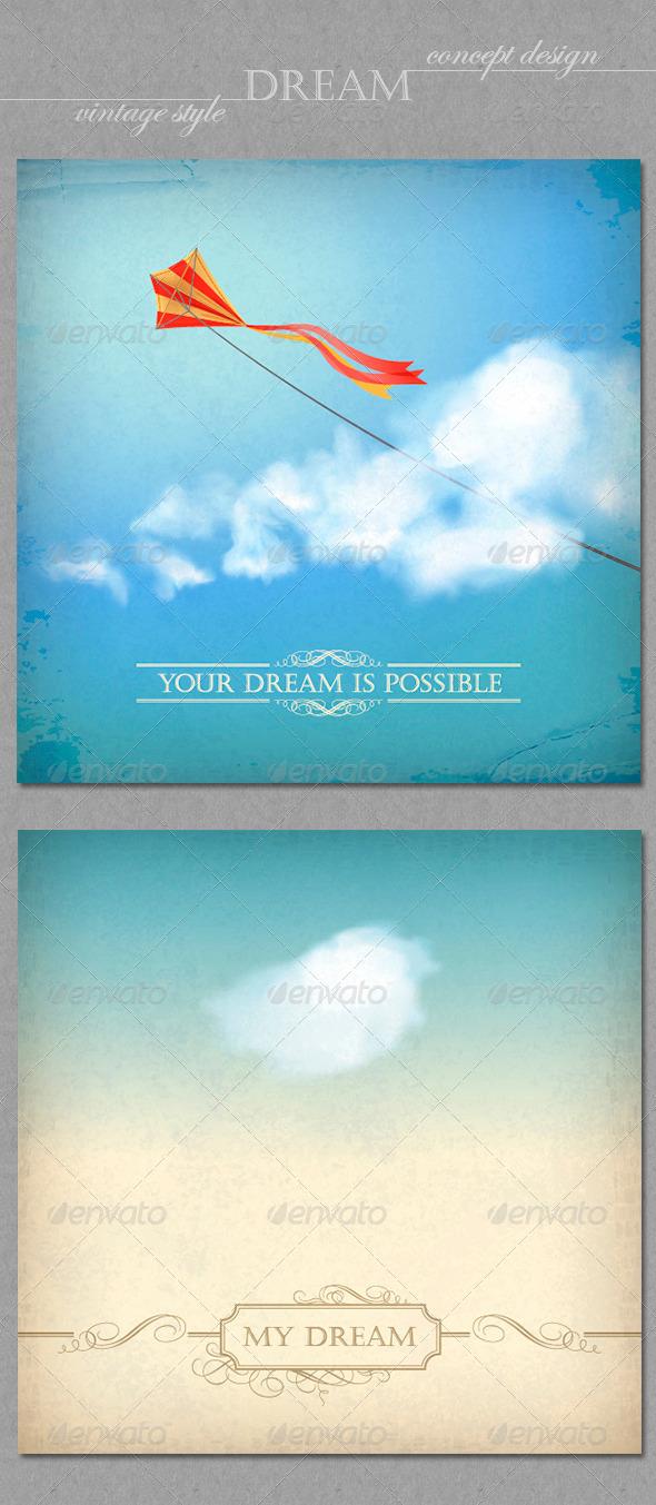 GraphicRiver Vintage Sky Backgrounds Concept Dream Design 4351906