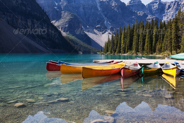 Canoes on Moraine Lake - Stock Photo - Images