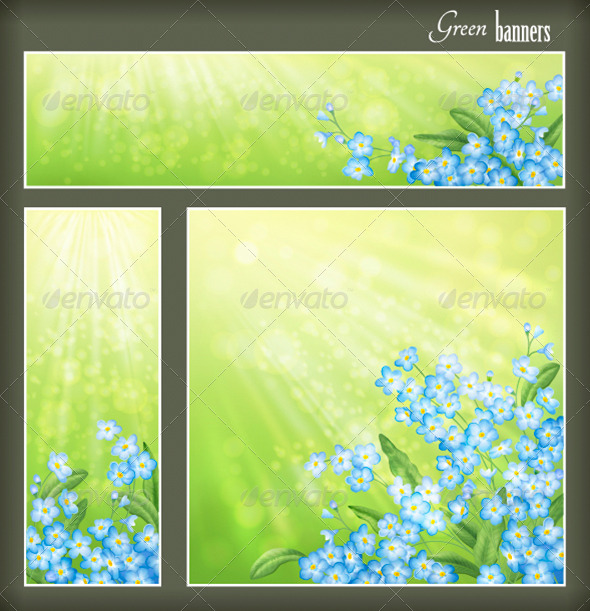 GraphicRiver Green Banners Set with Flowers 4354234