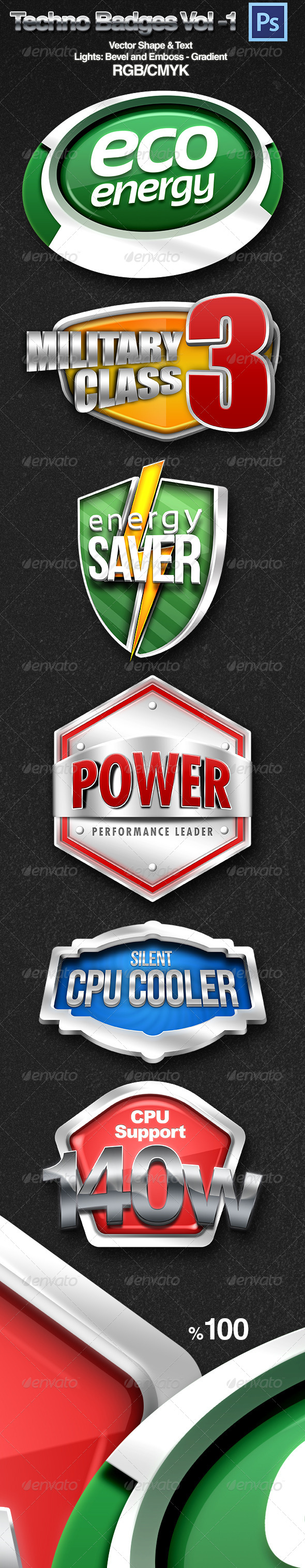 GraphicRiver 3D Techno Badges 4354298