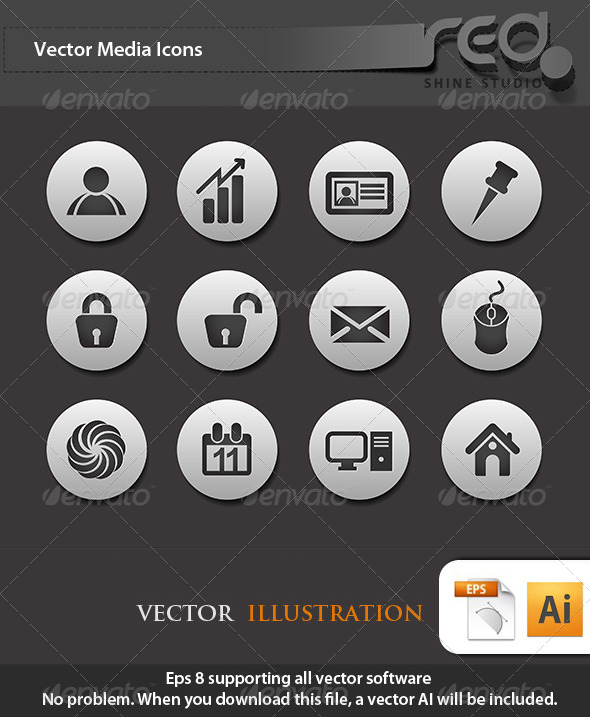 GraphicRiver Computer Icon Vector Pack 4354344