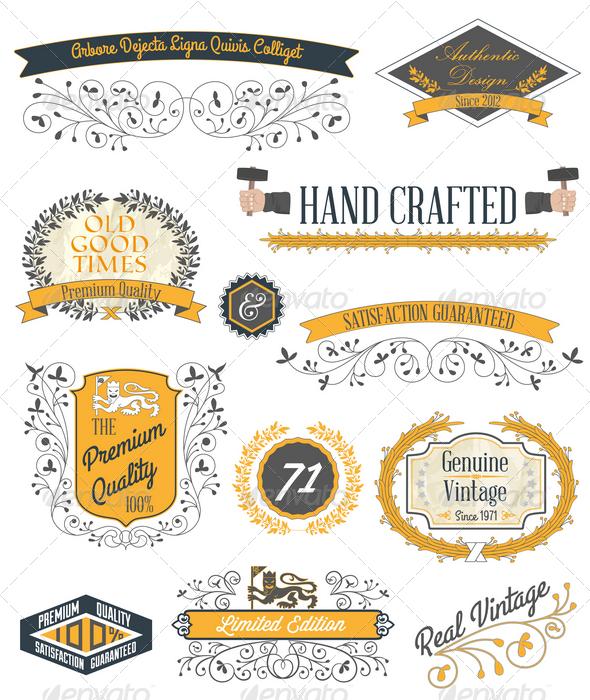 GraphicRiver Vintage Emblems and Labels Set 4354813