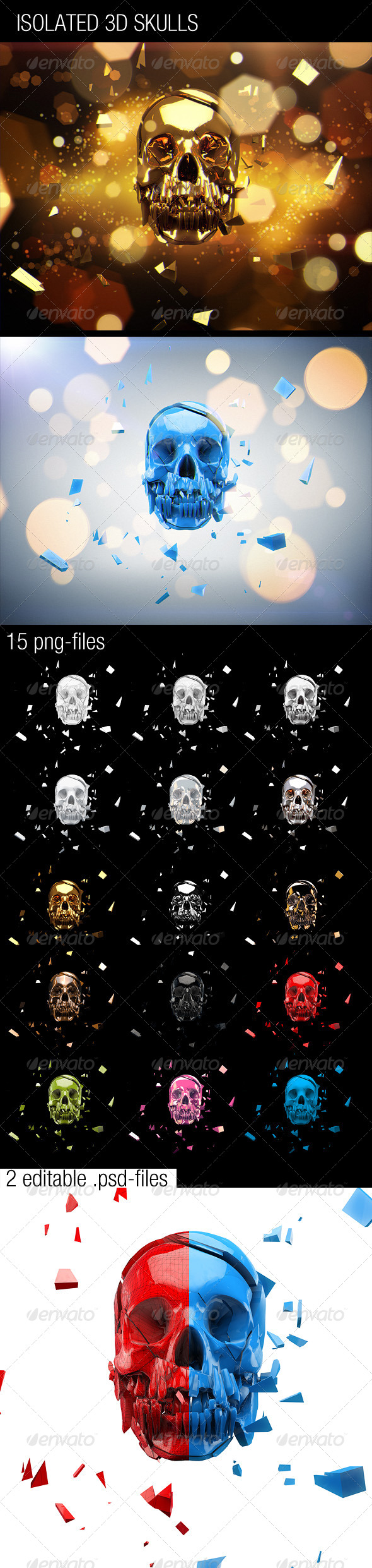 GraphicRiver 15 Isolated 3D Skulls 4355494