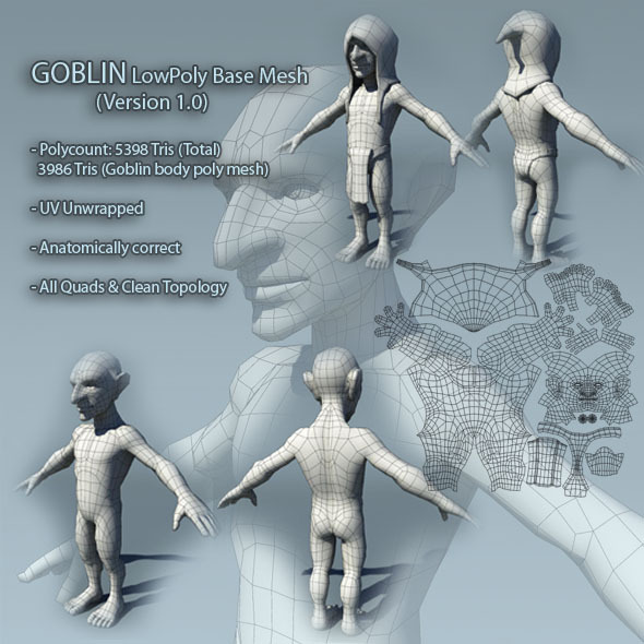 Goblin Low Poly Base Mesh Ver1.0 - 3DOcean Item for Sale
