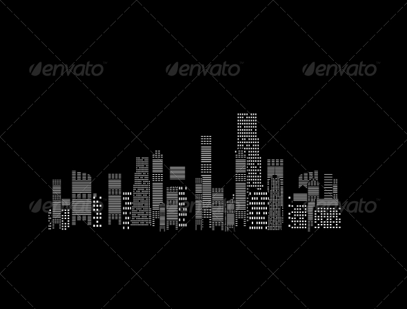GraphicRiver Cities Silhouette on Black Background 4355551
