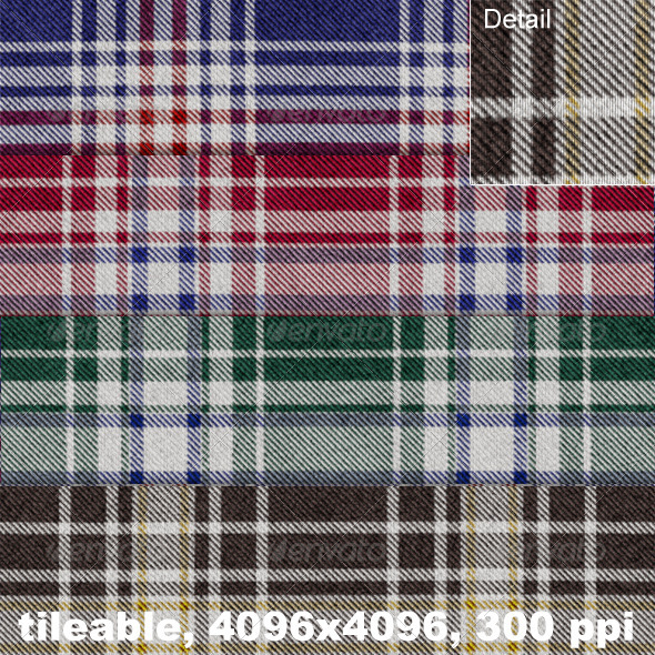 GraphicRiver 4 Flannel Plaid Textures 4356245