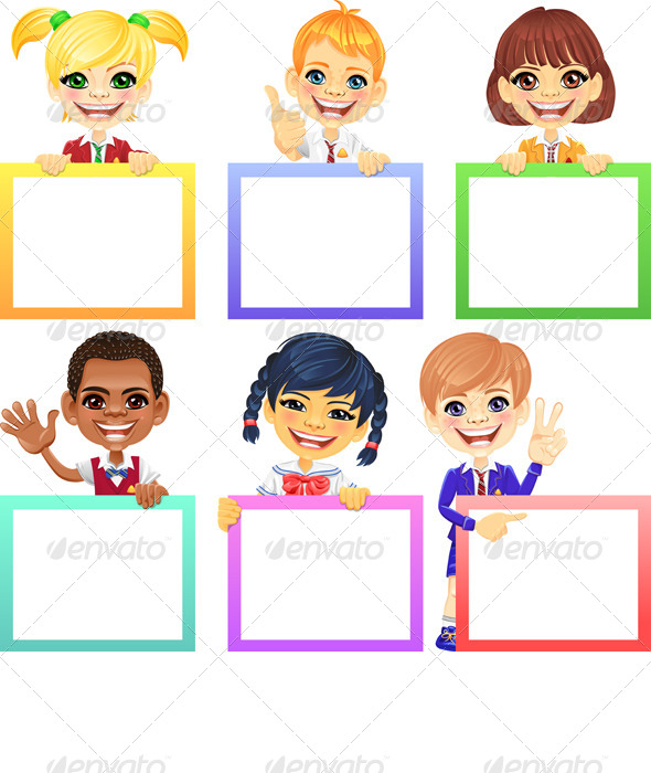 Vector Smiling Kids with Banners - People Characters