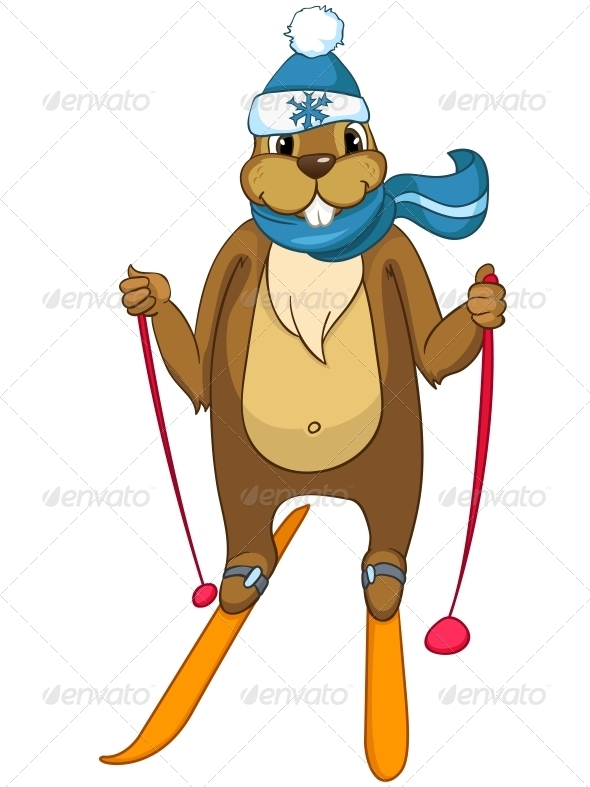 GraphicRiver Cartoon Character Beaver 4356885