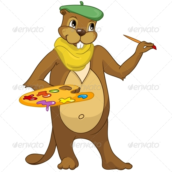 GraphicRiver Cartoon Character Beaver 4356913
