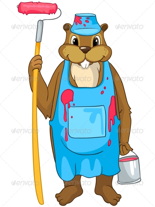 GraphicRiver Cartoon Character Beaver 4356914