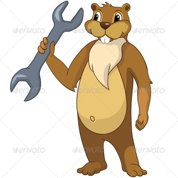 GraphicRiver Cartoon Character Beaver 4356932