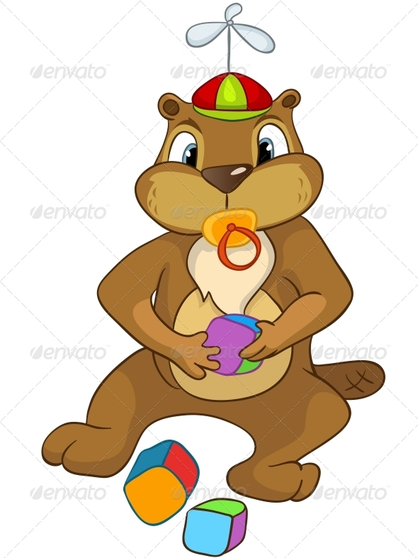 GraphicRiver Cartoon Character Beaver 4356941