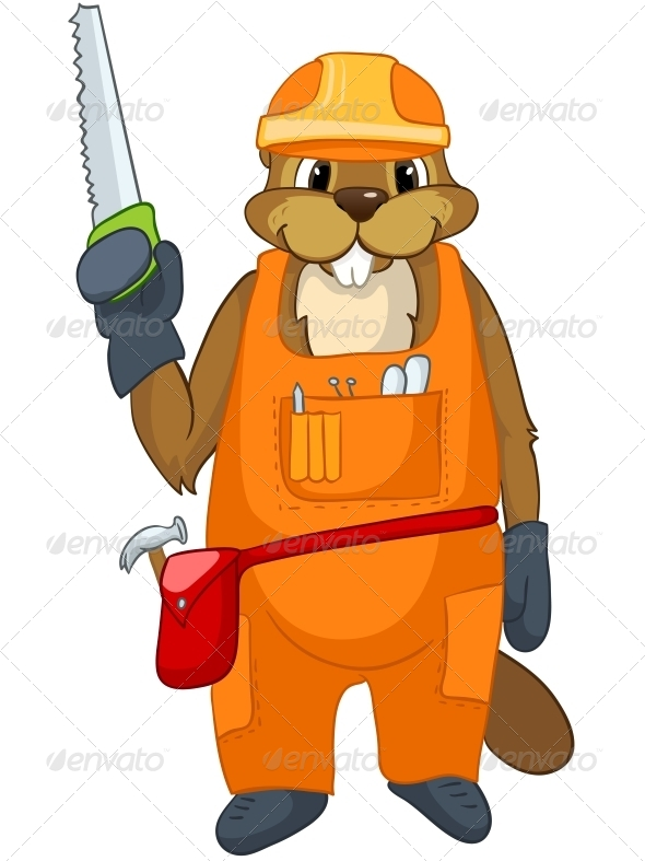 GraphicRiver Cartoon Character Beaver 4356954
