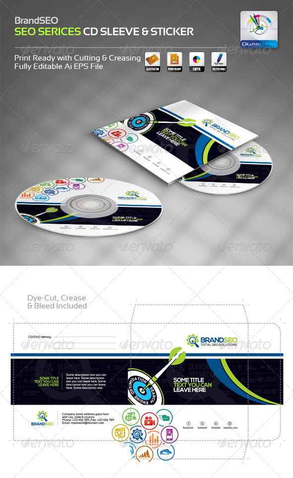 GraphicRiver BrandSEO Creative CD Sleeve & Sticker 4358034