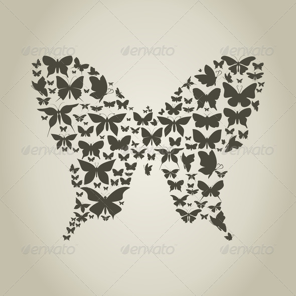 Silhouette the butterfly - Stock Photo - Images