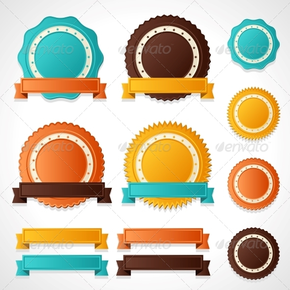 GraphicRiver Set of Vector Labels Badges and Ribbons 4358276