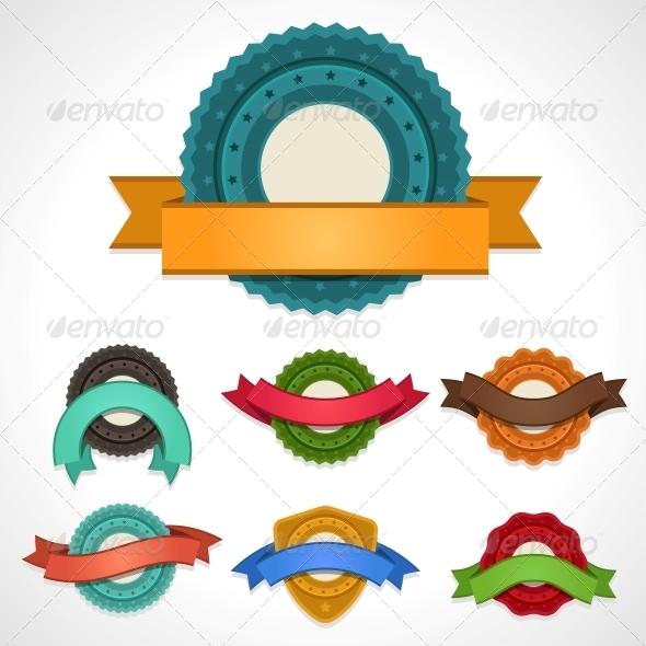 GraphicRiver Set of Vector Labels Badges and Ribbons 4358279