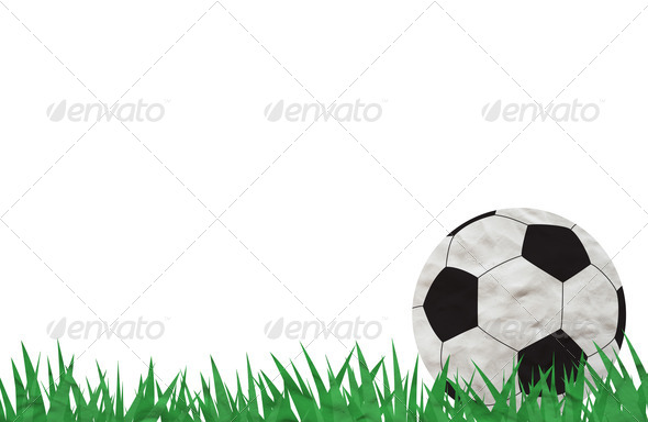 Plasticine Football on grass background - Stock Photo - Images