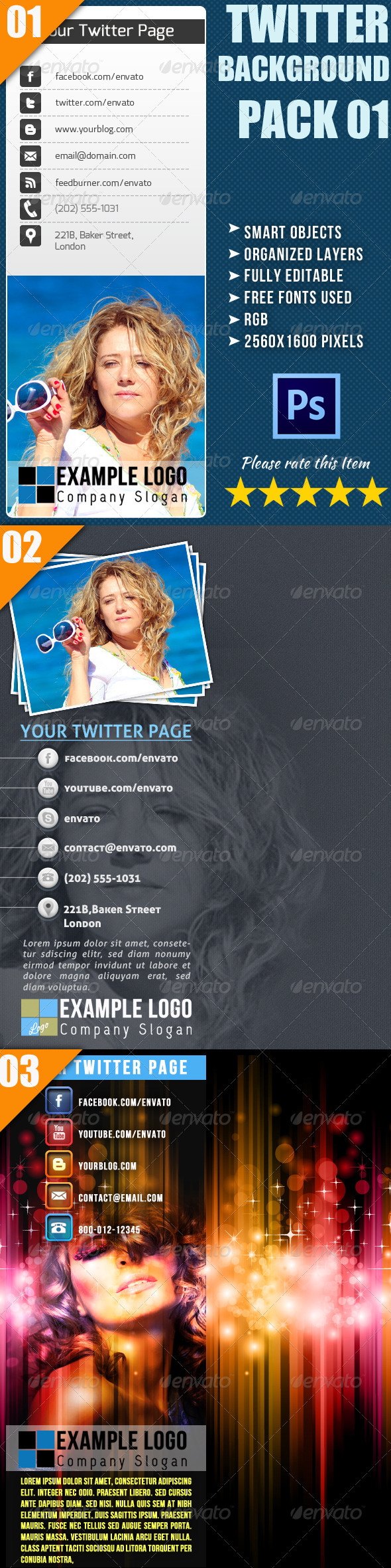 GraphicRiver Twitter Background Bundle 4359696