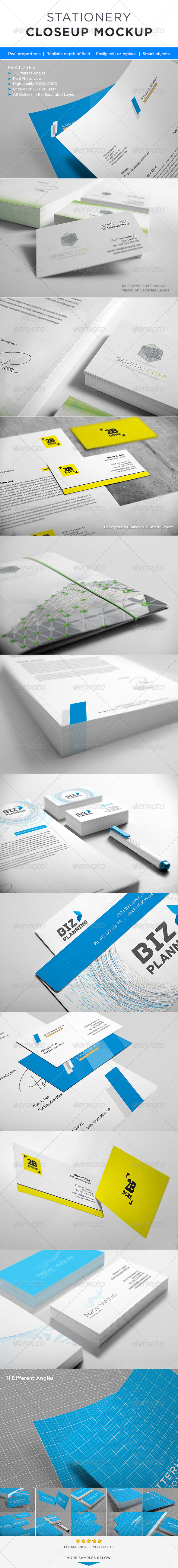 Photorealistic Stationery Closeup Mock-up - Stationery Print