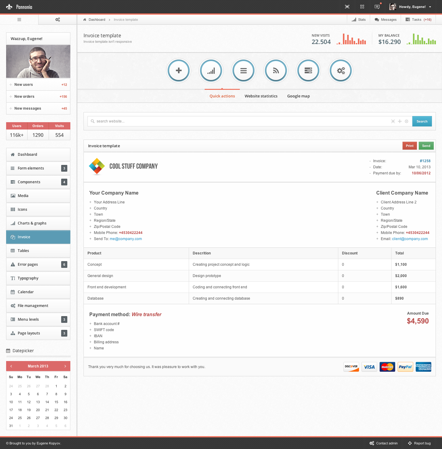 Invoice Crown Admin Template Free Download