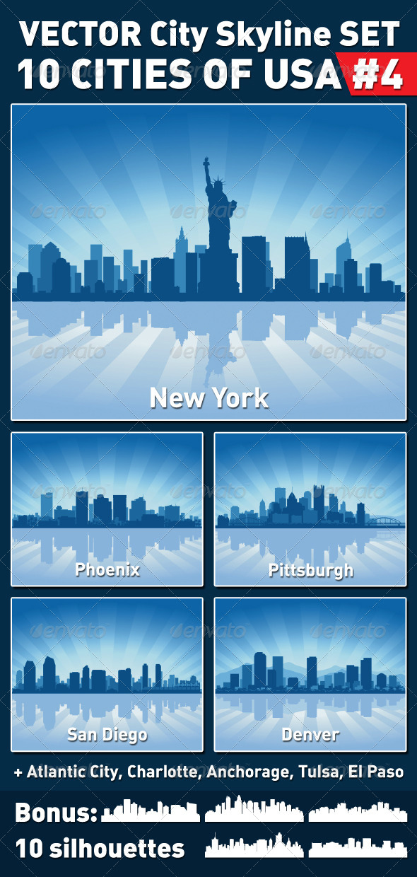 GraphicRiver Vector City Skyline Set USA #4 4360586