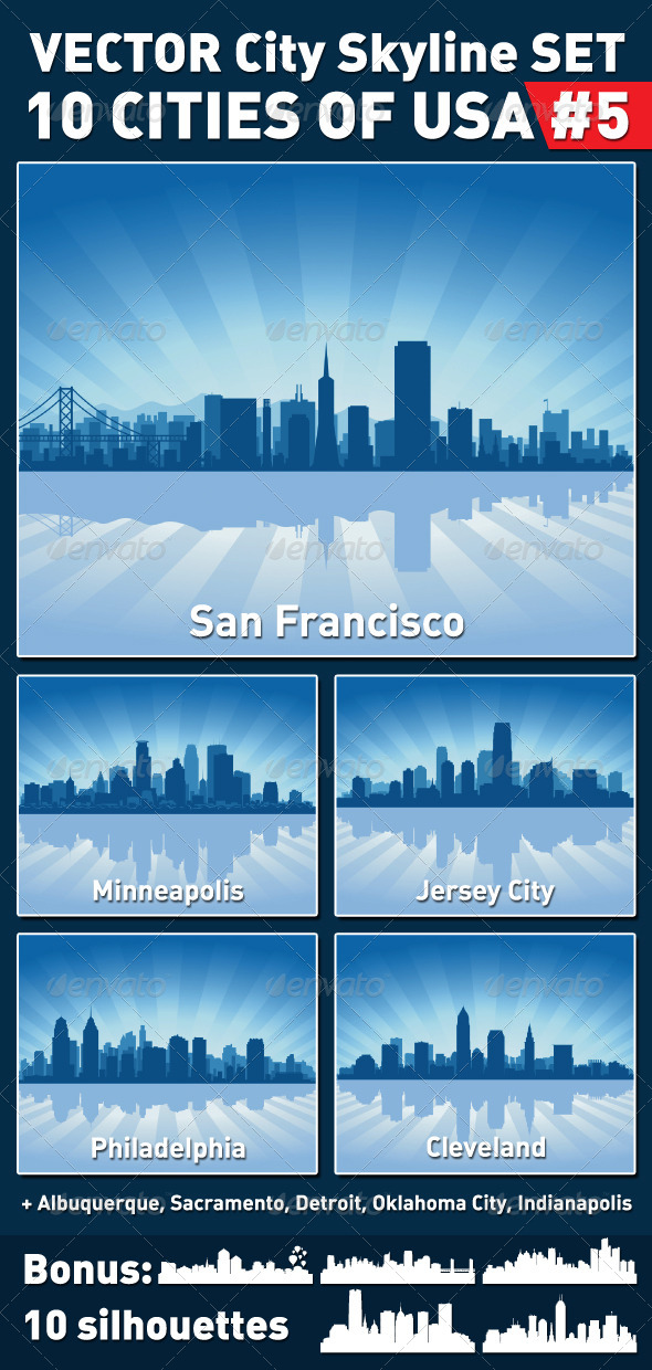 GraphicRiver Vector City Skyline Set USA #5 4360615
