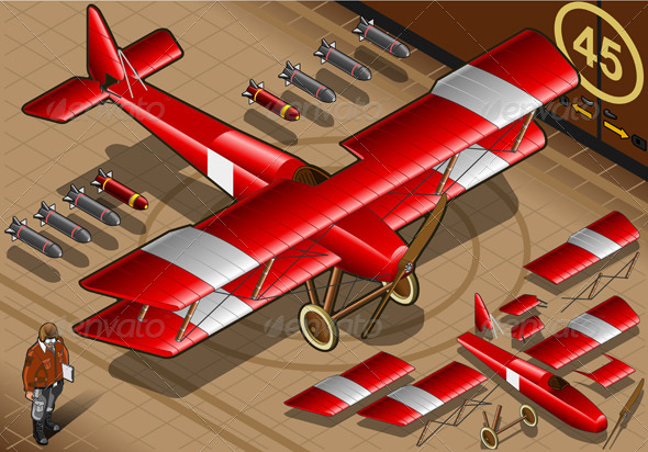 GraphicRiver Isometric Red Biplane Landed in Front View 4360723