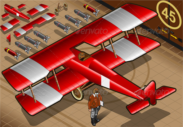 GraphicRiver Isometric Red Biplane Landed in Rear View 4361189