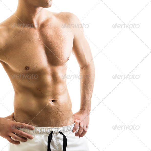 Handsome shirtless young man - Stock Photo - Images