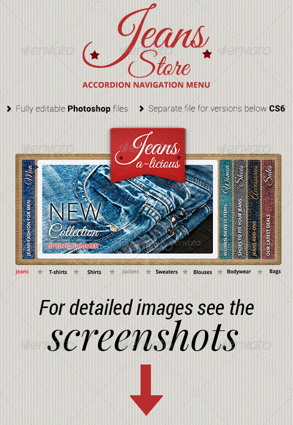 GraphicRiver Jeans Store Accordion Navigation Menu 4361763