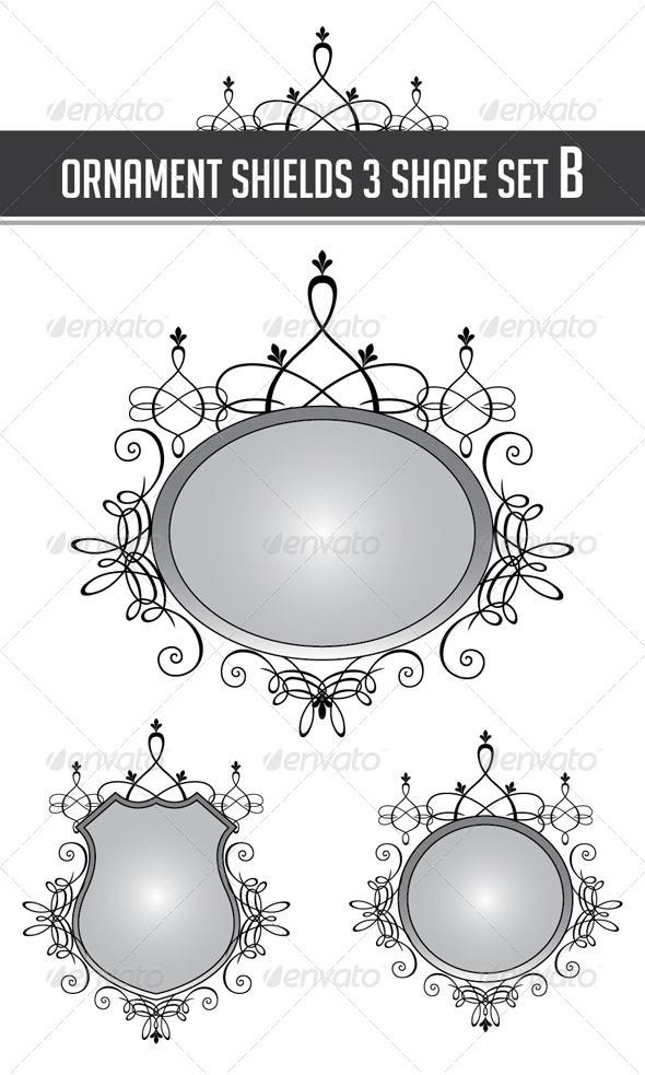 GraphicRiver Ornament Shields 3 Shape Set B 4362109