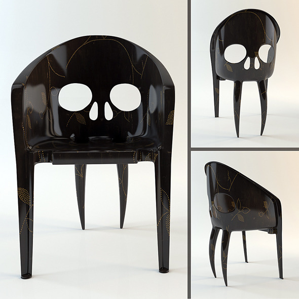 3DOcean Chair The Skull with Fangs hi-poly model 4362131