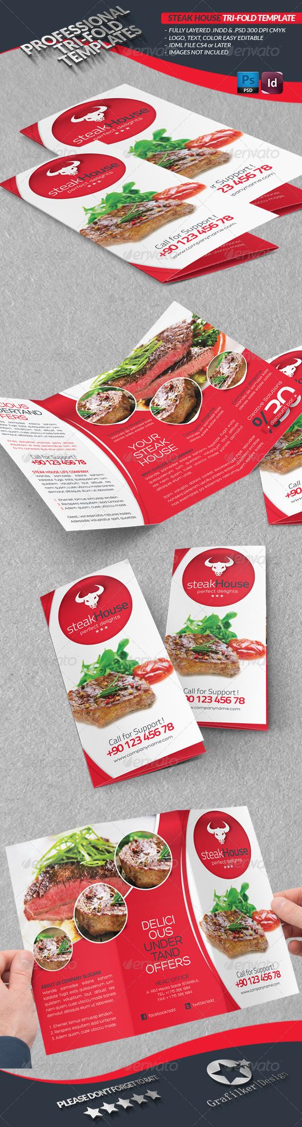 GraphicRiver Steak House Tri-fold Template 4362418