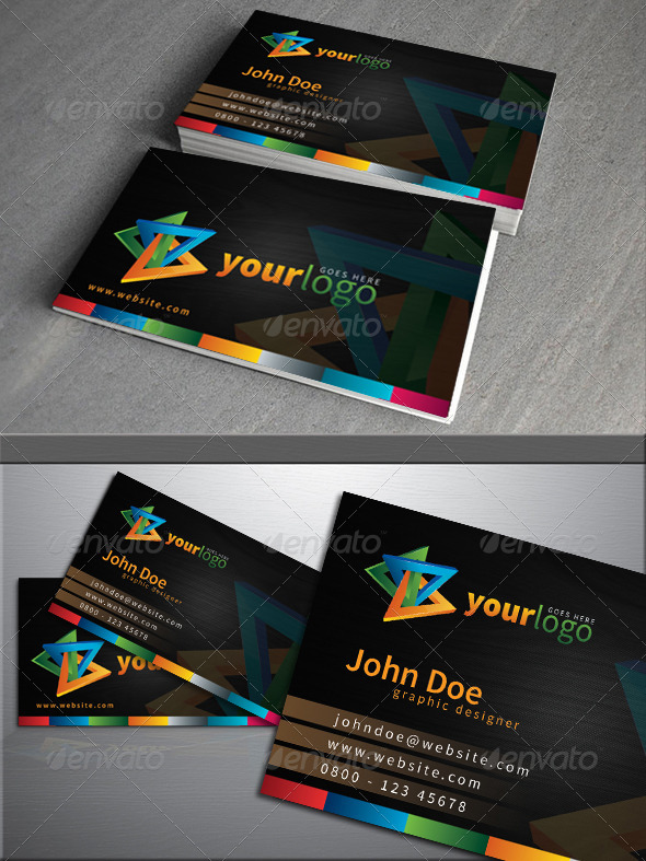 GraphicRiver Simple dark colorful business card 4239084