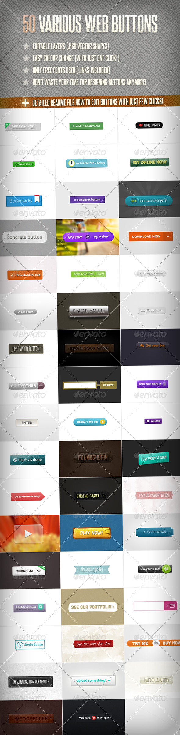 GraphicRiver 50 Various Web Buttons 4362503