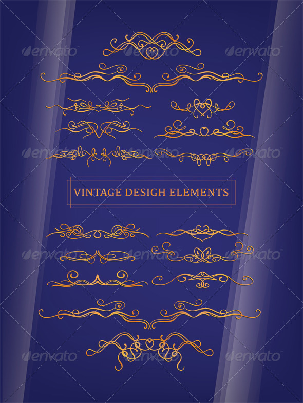GraphicRiver Gold Vintage Desigh Elements 4362814