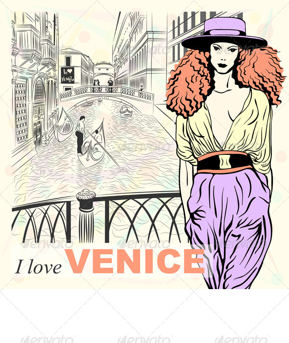 GraphicRiver Vector Fashion Girl on a Venice Background 4362836