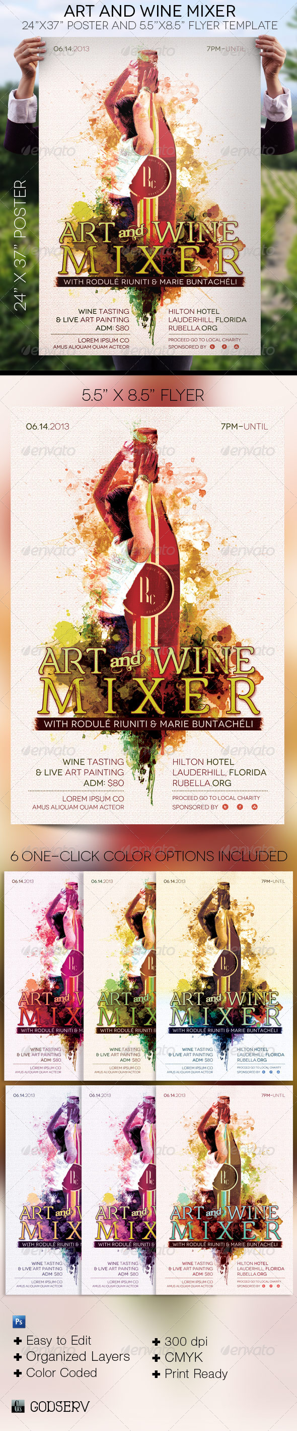 Art and Wine Mixer Poster and Flyer Template - Signage Print Templates