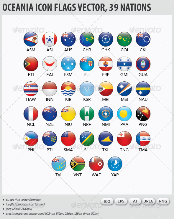 Oceania Flags Vector - Web Icons