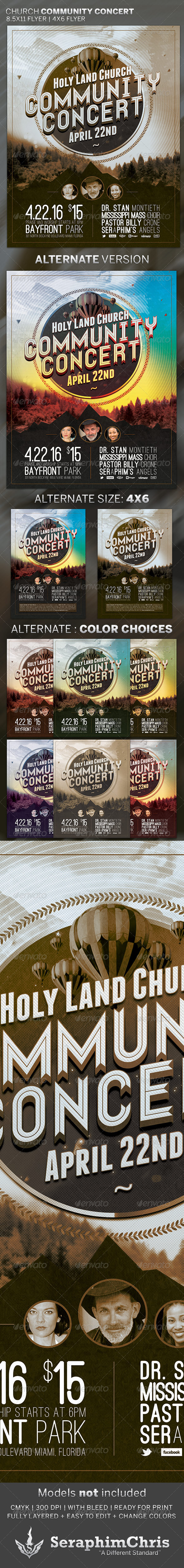 Church Community Concert: Flyer Template - Church Flyers