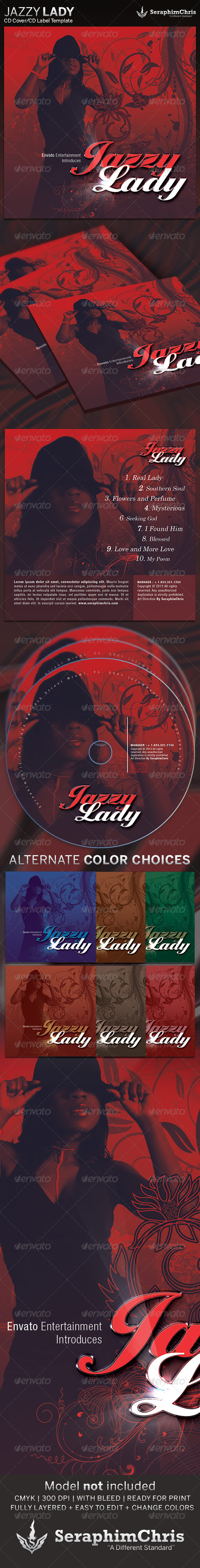 Jazzy Lady: CD Cover Artwork Template - CD & DVD Artwork Print Templates