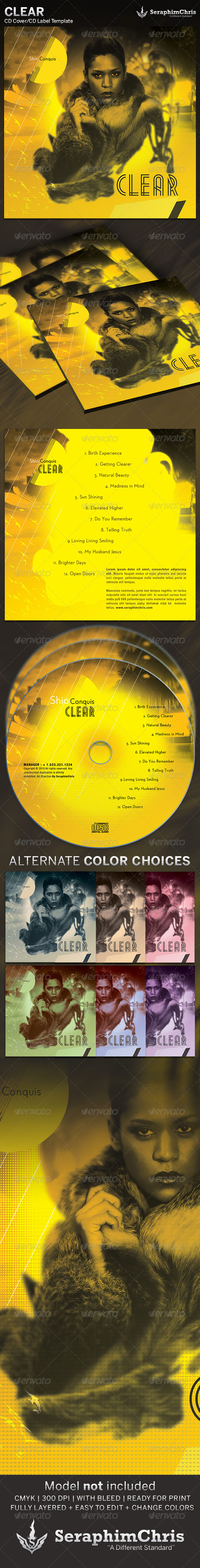Clear: CD Cover Artwork Template - CD & DVD artwork Print Templates
