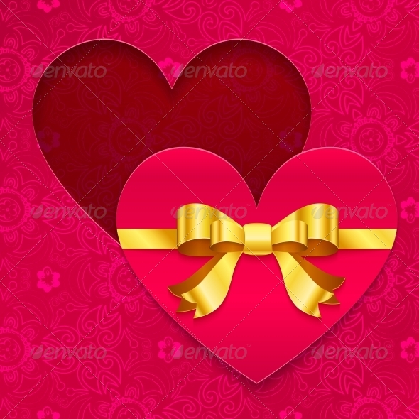 GraphicRiver Valentines Day Greeting Card with Heart and Ribbon 4363410