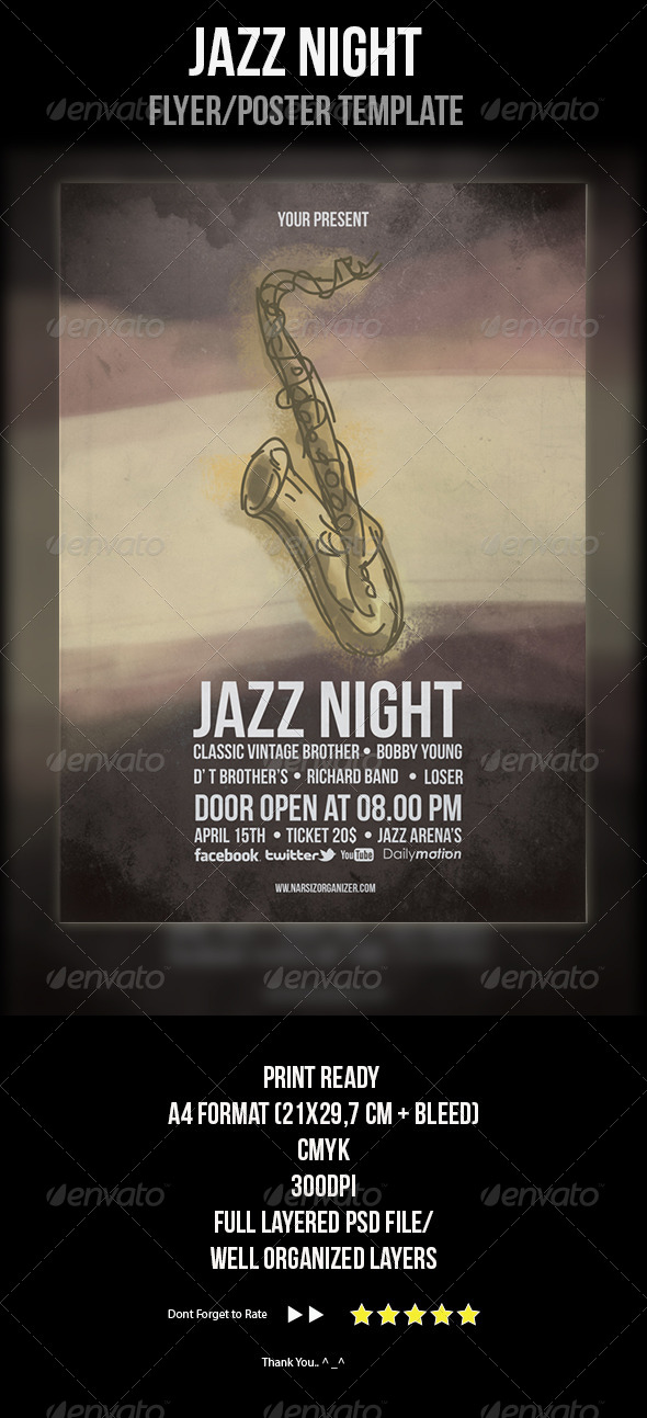 GraphicRiver Jazz Festival Flyer Template 4363568