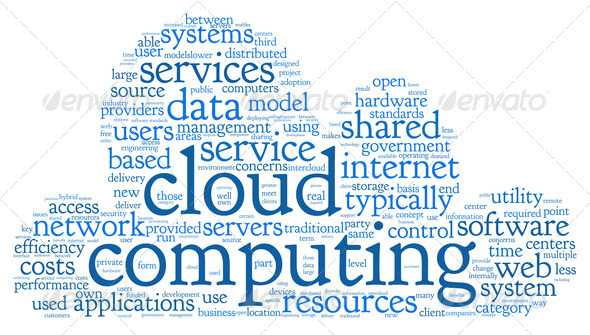 Cloud computing in word tag cloud - Stock Photo - Images