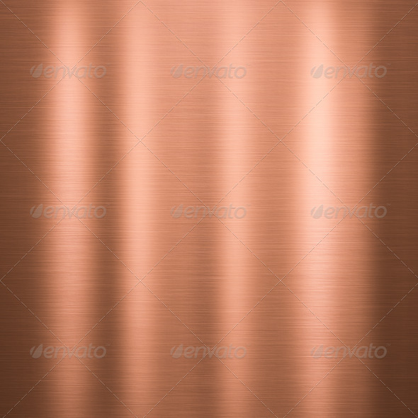Brushed copper metallic plate - Stock Photo - Images