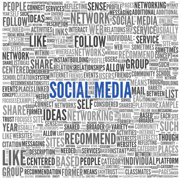 Social media conept in word tag cloud - Stock Photo - Images