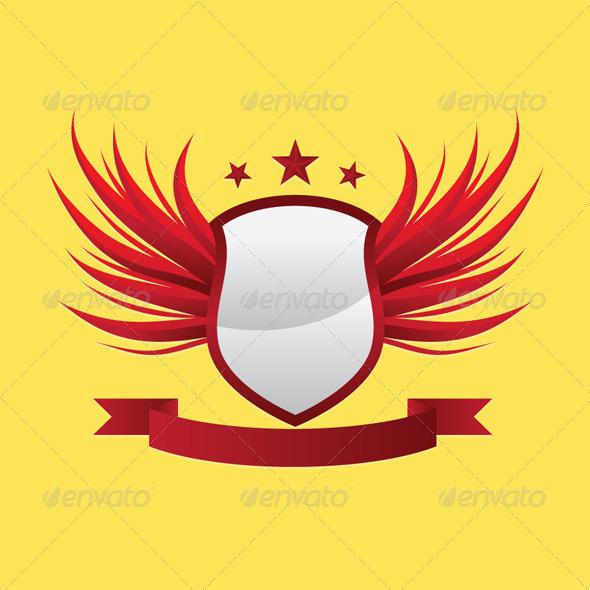 GraphicRiver Wing Shield Ribbon 4363972