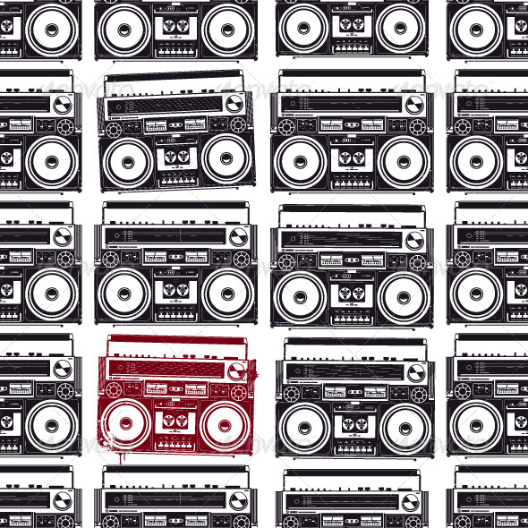 GraphicRiver Old-School Tape Recorders Seamless Texture 4363992